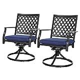 LOKATSE HOME Outdoor Patio Dinning Swivel Chairs Rocker Set of 2 Metal for Garden Backyard Furniture, 2, Blue