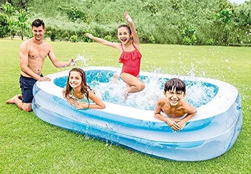 Aufblasbarer Family Pool Rechteckig Gross | Planschbecken | Aufstellpool | Swimmingpool | Kinderpool | Schwimmbecken Groß für Kinder Erwachsene für Garten | 262 x 175 x 56 cm