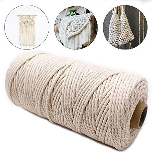 U&X Makramee Garn, Natur Kordel Schnur Garn, Kordel DIY Handwerk Baumwollgarn Basteln, Naturliches Baumwollschnur Rope (100m x 3mm)