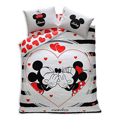 Minnie & Mickey Valentine's Day AMOUR SO IN LOVE, Duvet Cover Set, 100% Cotton, Double Size, 4 Pieces