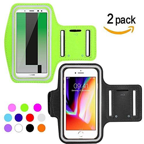 Ycloud [2 Pack] Wasserdicht Sportarmband für Elephone A8, Elephone C1 Mini, Elephone S2, Essential Phone Maximale Größe bis 5.5 Zoll -(Grün+Schwarz)