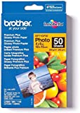 Brother BP71GP50 - Pack de 50 Hojas de Papel Fotográfico Glossy Premium 10 x 15 (260 g/m2), Color Blanco