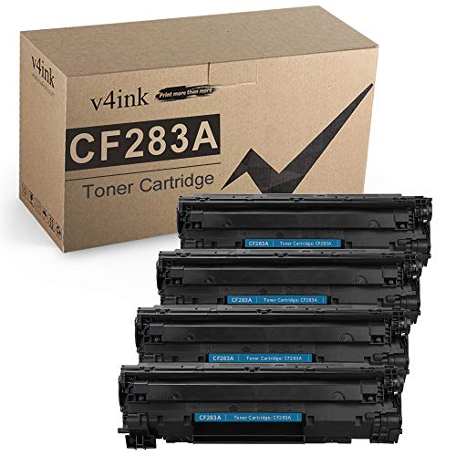 V4INK Compatible CF283A Toner Cartridge Replacement for HP 83A CF283A for use in HP Laserjet Pro MFP M127fw M127fn M125nw M201dw M201n M225dn M225dw M125a Series Printer (Black, 4 Pack)