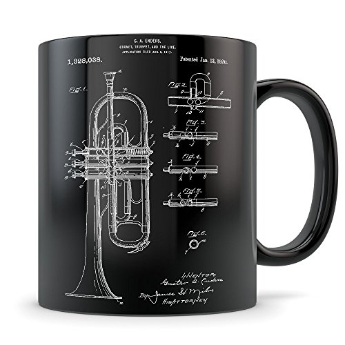 Trumpet Gift for Men and Women - Trumpet Mug for Music Teacher or Player - Best Horn Instrument Themed Gift Idea - Cool Invention Patent
