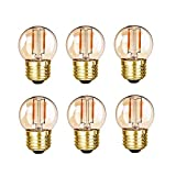 Grensk - G40 Edison LED Filament Mini Globe Light Bulbs 1WEquivalent to 10Watt Incandescent - E26 Screw Base Led Bulbs Ultra Warm White 2200K(Decorative Lighting) Non Dimmable (Amber Glass)