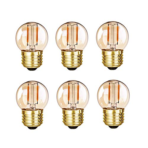 Grensk - G40 Edison LED Filament Mini Globe Light Bulbs 1W Equivalent to 10 Watt Incandescent - E26 Screw Base Led Bulbs Ultra Warm White 2200K(Decorative Lighting) Non Dimmable -6Pack (Amber Glass)