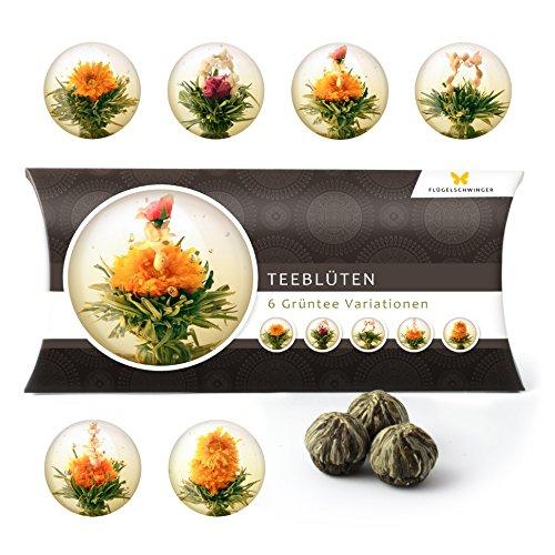 6 Teeblumen Geschenk-Box - Grüntee Variationen, Originelle Geschenk-Idee zum Geburtstag, Muttertag oder Valentinstag, tolles Geschenk nicht nur für Frauen und Teeliebhaber, Teeblüten, Erblühtee
