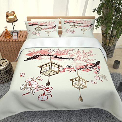 XKALXO Duvet cover set 3d Chinese painting plum blossom quilt bedding set with Zipper Closure, Ultra Soft Microfiber Quilt Cover Super king Size 260x220cm and 2 Pillowcase