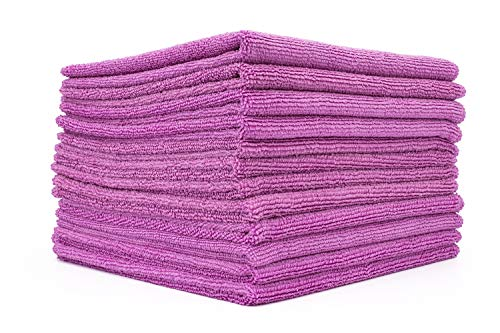 The Rag Company (12-Pack) 16 in. x 16 in. Commercial Grade All-Purpose Microfiber Highly Absorbent, LINT-Free, Streak-Free Cleaning Towels (Lavender Purple)