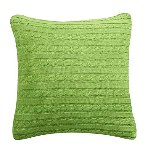 YONGYONG Coton Coussin De Canapé De Vent Rétro Tricoté Au Dos, Rembourrage En Pp 45cm * 45cm, 55cm * 55cm (Color : Green, Size : 55cm*55cm)