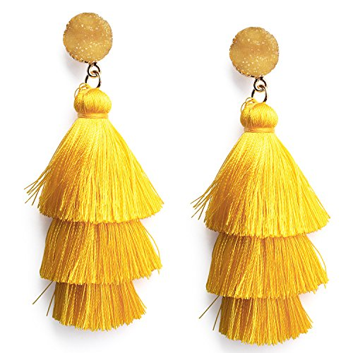 Bright Yellow Layered Dangle Tassel Earrings for Women Girls Stud Post Statement Golden Fringe Summer Drop Earrings Birthday Party Valentines Gift for Ladies Mom Girlfriend