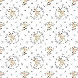 Quiltstoff, Motiv Disney Bambi, gerahmt auf weißem 100 %