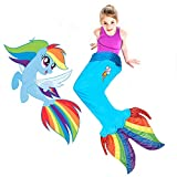 Blankie Tails | My Little Pony Mermaid Blanket Wearable Blanket - Double Sided My Little Pony Minky Fleece Blanket - Mermaid Tail Blanket (56'' H x 27'' (Kids Ages 5 - 12), Rainbow Dash Seapony)