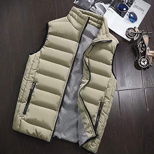 LYLY Vest Women Clothing Vest Jacket Mens Autumn Warm Sleeveless Jacket Male Winter Casual Waistcoat Men Vest Plus Size Vest Homme Vest Warm (Color : Khaki, Size : 5XL)
