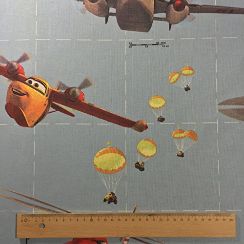Oficial de Disney Aviones de color azul Diseño de paracaídas Impresión Premium Grado 100% cortina hilado fino infantil de algodón ropa de cama Tela 142cm de ancho–se vende por metro
