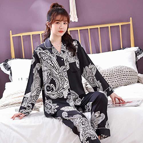 ZHANGNUO Hosen Modetrend Paar Pyjamas EIS Seide Bedruckte Seide Version des Home Service Anzug XL / 6971 weiblich Cashew Blume