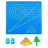 Moyisea 3D Pen Mat, 3D Printing Pen Pad Silicone Template Mat for Kids and Adults - 3D Pen Accessories with Various Pattern and 2 Finger Caps, 6.7 x 6.7 inches