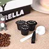 pedkit - Capsula di caffè Riutilizzabile 3 Pezzi/Set con Cucchiaio e Set di 3 filtri caffè per Macchina da caffè Nespreso