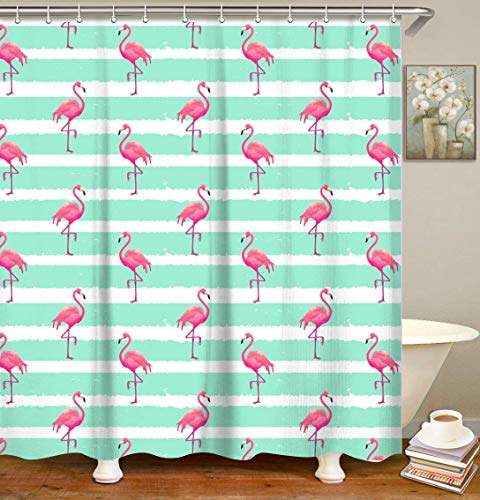 """LIVILAN Pink Flamingo Shower Curtain with 12 Hooks, Mint Green and White Striped Fabric Bathroom Curtain, Tropical Decorative Bath Curtain Machine Washable (72"""" X 72"""")"""