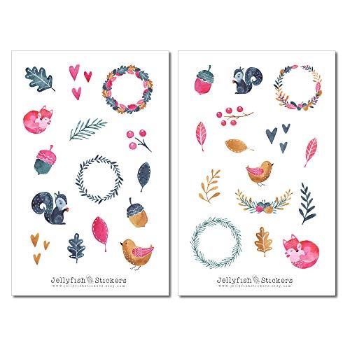 Waldtiere Rosa Blau Sticker Set   Journal Sticker   Planer Sticker   Sticker Tiere, Wald, Eichhörnchen, Vogel, Pflanzen, Blumen, Niedlich