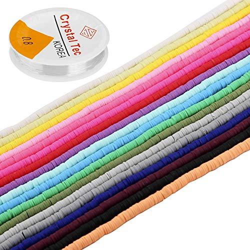 LUTER 6300+ Cuentas De Arcilla Polimérica, Cuentas Planas Redondas Multicolores, para Hacer Joyas, Collar, Tobillera, Brazalete (6 mm, 18 Colores)