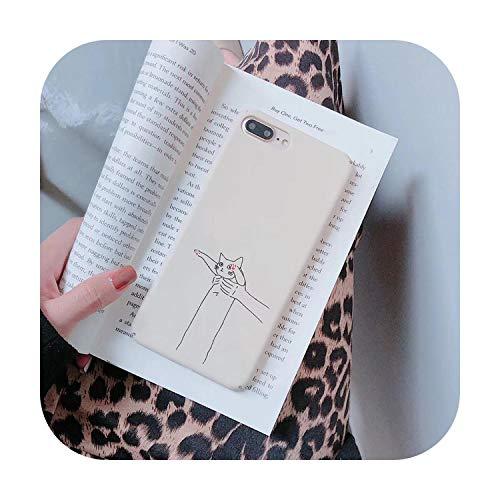 Phonecase - Carcasa para iPhone 7 8 6S Plus 11 Pro Max, diseño de gato blanco