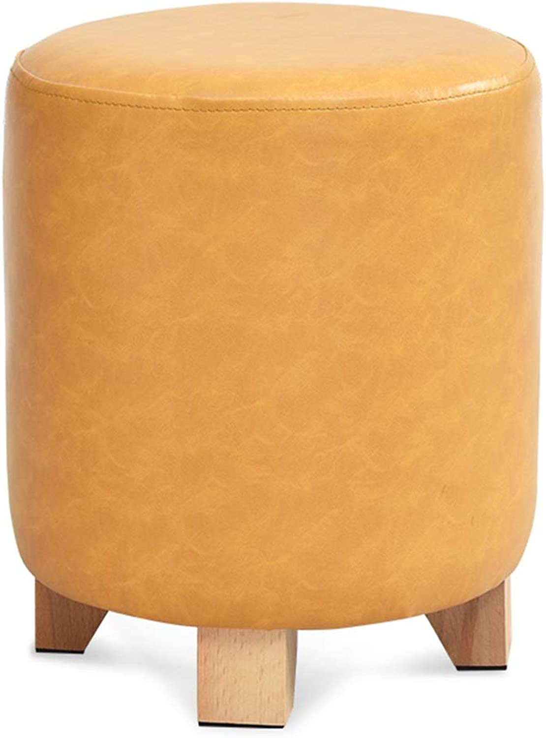 Pouffes and Footstools Home Cylindrical State Seat Low Stool Comfortable Soft PU Solid Wood, 3 colors ( color   Yellow , Size   29x29x35cm )