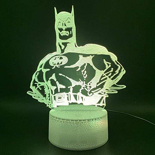 Lumière De Nuit 3D Nouveauté Lumières Marvel Comics Super-Héros Batman Hologram Office Home Decor Light Kids Child Gift 3D Illusion Led Night Light Lamp-7_Colors_No_Remote