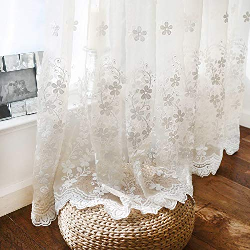 """WINYY Romantic White Floral Sheer Curtain Sliding Glass Door & Parlor Decorative Curtain Embroidered Voile Curtain for Living Room Dining Room Rod Pocket Top Window Drape 1 Panel (39"""" W x 84"""" L)"""