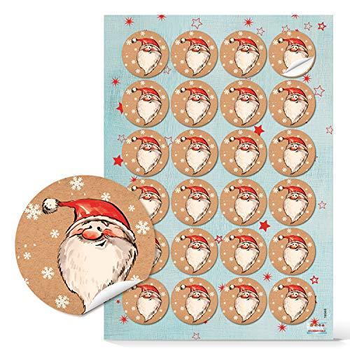 Logbuch-Verlag 24 Weihnachtsmann Nikolaus Aufkleber rund 4 cm - Geschenkaufkleber Weihnachten Nikolausgeschenk rot weiß beige für Kinder Kunden Mitarbeiter
