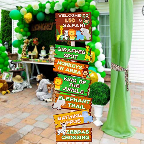 Huray Rayho Safari Jungle Animals Party Signs Wild Animals Welcome Signage Summer and Autumn Zoo Animals Birthday Party Baby Shower Yard Decorations Photo Props Cutouts Set of 7