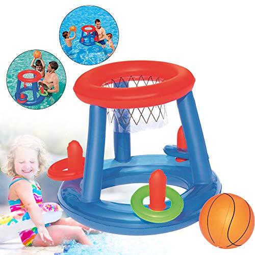 Hilai 1 Satz Schwimmbasketballkorb Pool schwimmende Kugel Spiel Sommer-Pool-Sport-Spielzeug mit aufblasbarem Basketballkorb und Ball