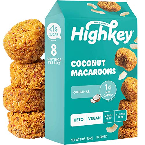 HighKey Keto Snacks - Vegan Cookies - Low Carb - Coconut Macaroons - Healthy Gluten Free Cookie - Individually Wrapped Macaron Cookies - Low Sugar Diabetic Snack, Paleo Food, Macaroon - Original