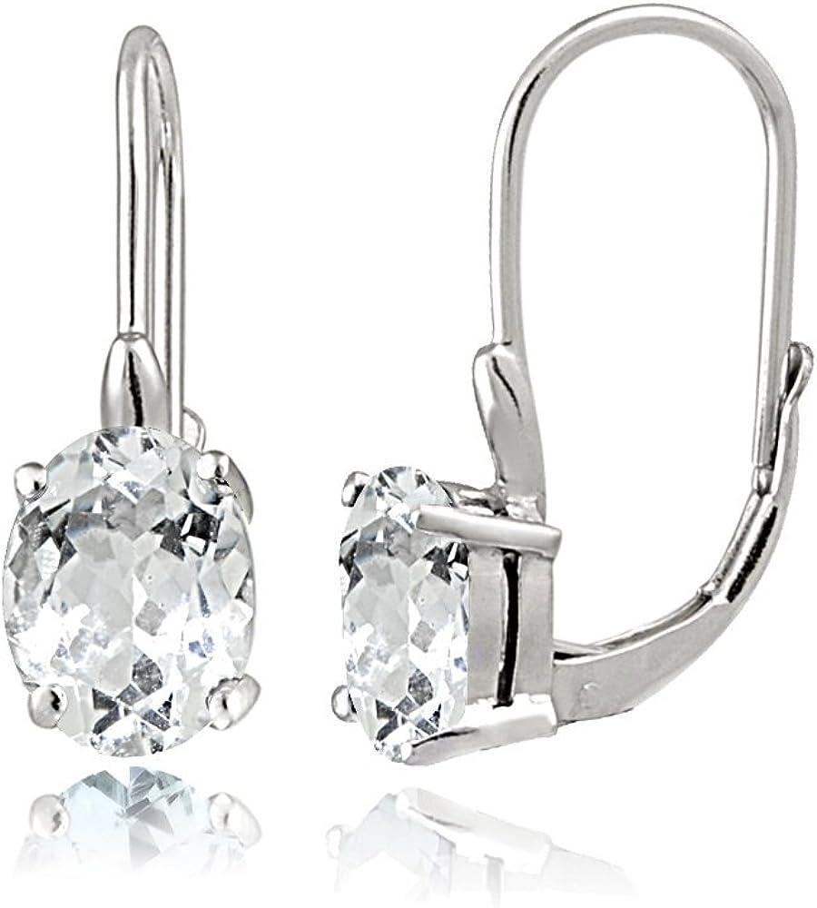 Genuine Sterling Silver Choice of Gemstone Oval Ear Albuquerque Mall Leverback Birthstone