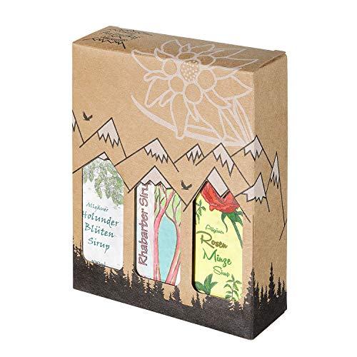 Allgäuer Genuss-Box - Feinkost Geschenk-Set - 3 x 100ml feinster Sirup - Allgäuer Delikatessen mit Geschenkverpackung als Geschenk-Set