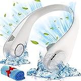 Blsyetec Ventilador de Cuello Portátil con toalla de refrigeración, 6000mAh ventilador de cuello ventilador cuello portátil USB Recargable 3 Velocidades Ventilador