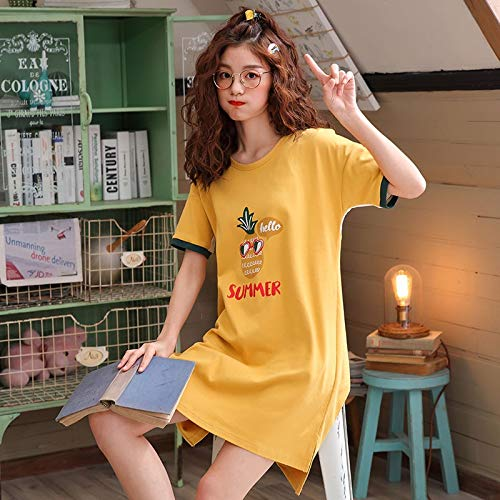 Pijamas de Manga Larga Conjunto de Pijamas de Pareja Verano 100% algodón Hombres y Mujeres Pijama de Manga Corta con Cuello Redondo Mujeres Camisón Lover Lounge Homewear XXXL XGL8381B