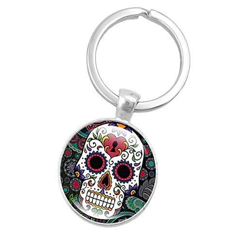 Skeleton Skull Time Gemstone Gem Metal Key Holder, Keychain,Key Ring, Key Chains,Cell Phone Chain,Halloween Pendant