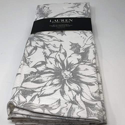 L R L Set of 2 Gray Floral Poinsettia Kitchen Dish Towels