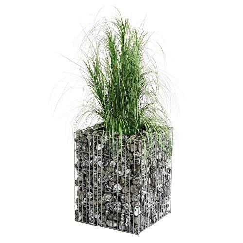 bellissa colonne gabions végétalisable - 95532 - colonne décorative pour fleurs avec système d'irrigation, indicateur du niveau d'eau et sac de substrat - 40 x 40 x 50 cm