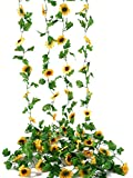 Beferr 4 Pack 7.8FT Artificial Sunflower Vine Hanging Sunflower Garland Silk Flowers with Garden Craft Art Party Home Wedding Decor