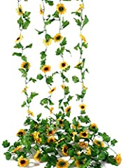 Include: 4 pack Sunflower vine plant. Material: Silk, Plastic, High Quality, Each garland 7.8 FT Long, Flowers 3 inches in diameter, Each garland holds about 72 leaves, 12 flowers. Usages: You can hang on the wall, doors, swing, fence and anywhere as...