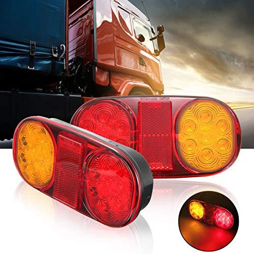 MASO Lot de 2 feux arrière 14 LED 10–30 V étanche pour remorque, caravane, camion, utilitaire, bateau, remorque.
