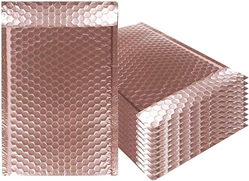 AMZ Bubble Mailers 5 x 9 Pack of 10 Rose Gold Padded Envelopes 5x9. Self-Adhesive Closure. Metallic Shipping Bags for Mailing, Packaging #00 10 Pack