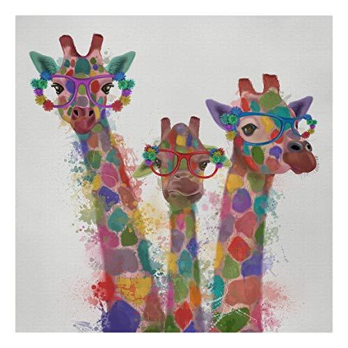 Bilderwelten Cuadro en Lienzo - Rainbow Splash Giraffe Trio - 120 x 120cm