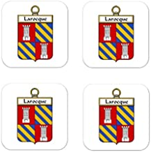 Larocque Family Crest Square Coasters Coat of Arms Coasters - Set of 4