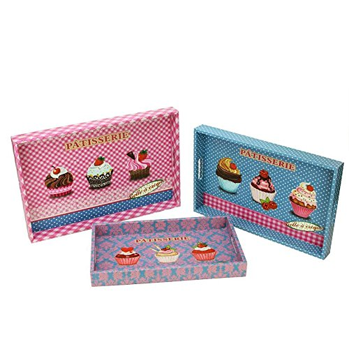 Northlight Decorative Patisserie and Cupcakes Wooden Rectangle Serving Tray, Set of 3, Pink, 3 Piece
