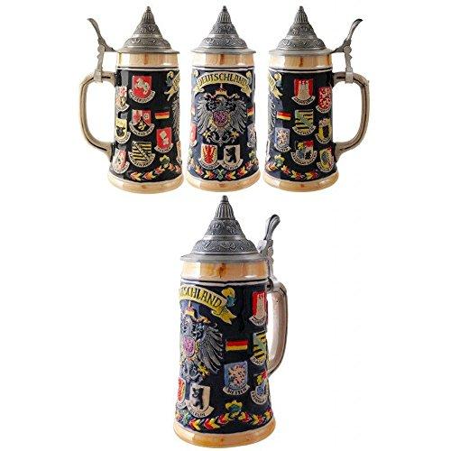 Official Jarra Decorativa de Cerveza Alemana Ceramica Deustchland Escudos 700 ML.