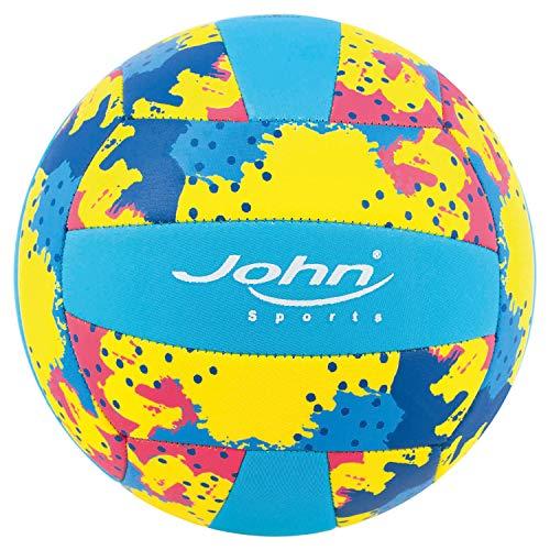 John 52730 - Volleyball Neopren, Größe 5, Durchmesser ca. 22 cm, 250 g, ideal für Einsteiger und Fortgeschrittene, cooles Design in knalligen Farben