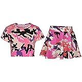 A2Z 4 Kids Enfants Filles Crop Top & Patineuse Jupe - Girls Crop Skirt Camo Baby Pink 11-1